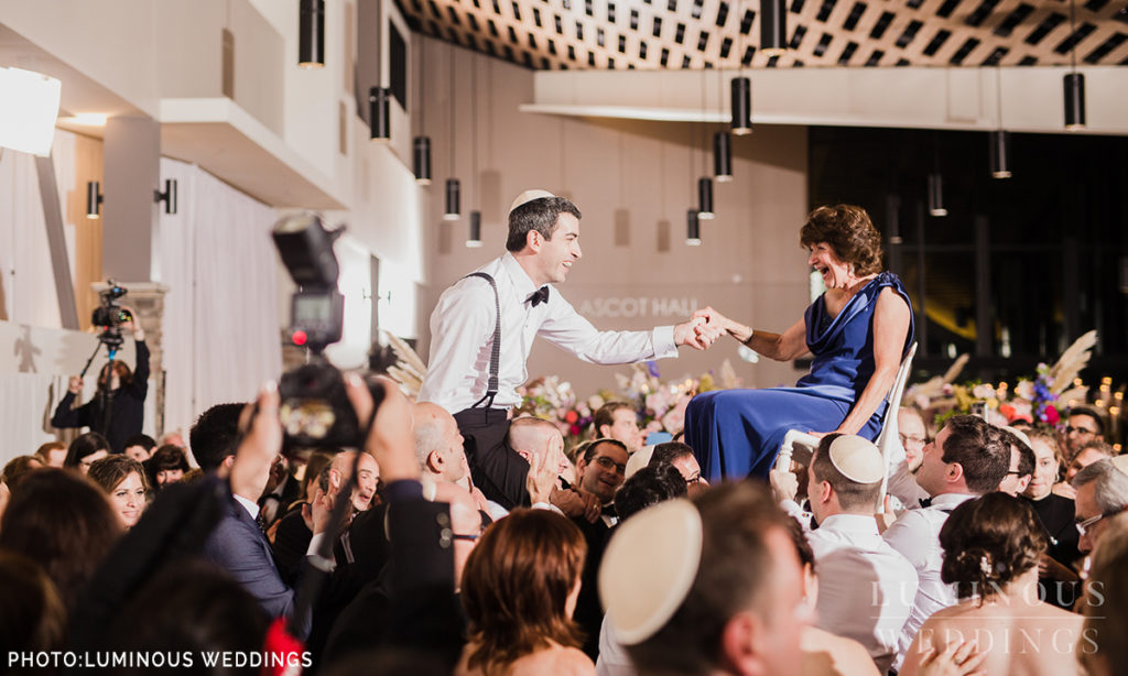 Indoor Wedding Alpine Ski Club Jewish Chair Dance