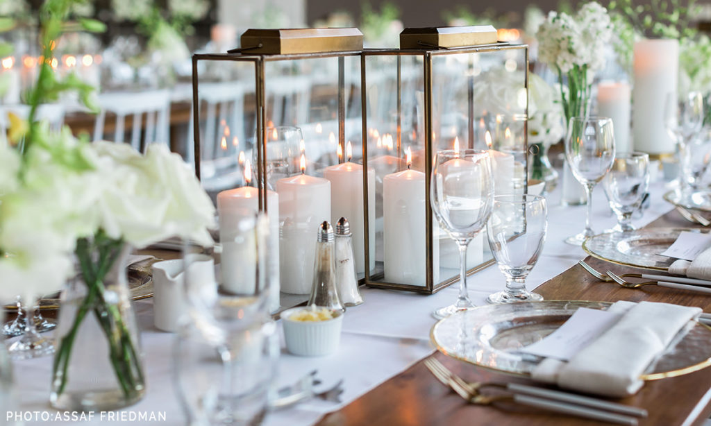 Indoor Wedding Alpine Ski Club Table Setting