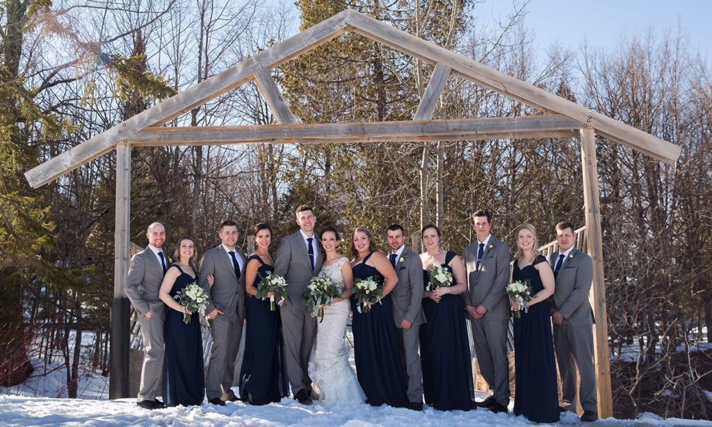 Outdoor Winter Wedding Party